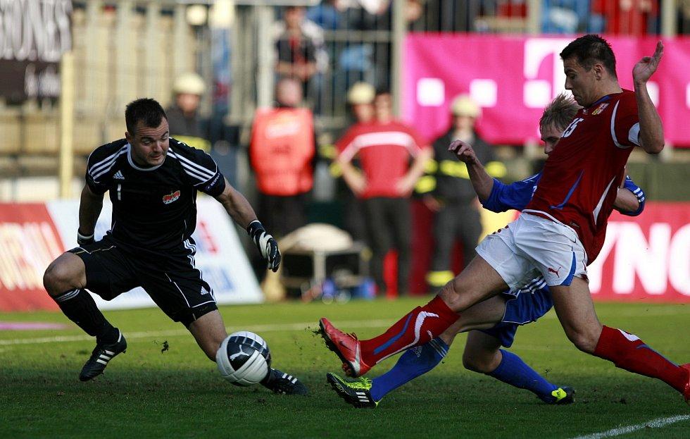 Milan Baroš střílí jeden z mnoha reprezentačních gólů.