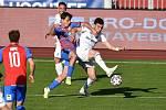 Utkání 27. kola první fotbalové ligy: Baník Ostrava - Viktoria Plzeň, 3. června 2020 v Ostravě. (Zleva) Pavel Bucha z Plzně a Rudolf Reiter z Ostravy.