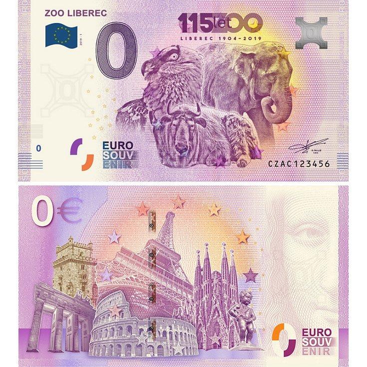 ZOO LIBEREC - suvenýrová eurobankovka, vydání roku 2019.