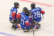 Mistrovství světa v para hokeji 2019, Korea - Česká republika (zápas o 3. místo), 4. května 2019 v Ostravě. Na snímku (zleva) Lee Jong Kyung (KOR), Jung Seung Hwan (KOR), Cho Byeong Seok (KOR), Jang Dong Shin (KOR).