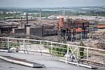 Odborná firma rozebere 84 metrů vysoký plynojem MAN který stojí na ulici 1. máje, snímek z 14. června 2021. Plynojem je už přes 10 let nevyužitý. Demolice bývalé Vítkovické ocelárny.