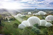 Skleníky pro horníky. Takto by měl vypadat projekt simulující různé vegetační pásy na zemi, např. pralesy, savany, pouště či tundry.