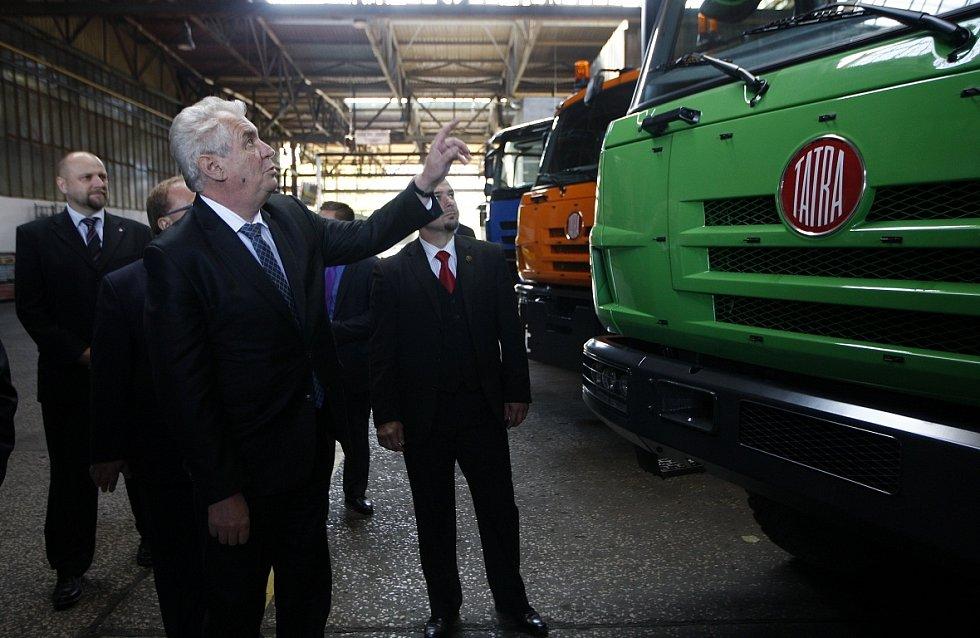 Návštěva prezidenta Miloše Zemana v kopřivnické Tatře.