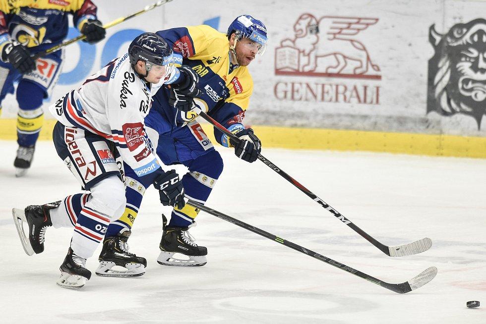 Utkání 32. kola hokejové extraligy: HC Vítkovice Ridera - PSG Berani Zlín, 4. ledna 2019 v Ostravě. Na snímku (zleva) Rastislav Dej a Šlahař Jakub.
