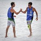 Turnaj Světové série Ostrava Beach Open, 21. června 2018, na snímku Jan Dumek a Václav Bercik.