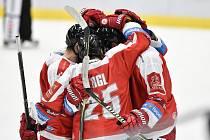 Utkání 1. kola hokejové extraligy: HC Vítkovice Ridera - HC Olomouc, 13. září v Ostravě. Na snímku radost Olomouce.