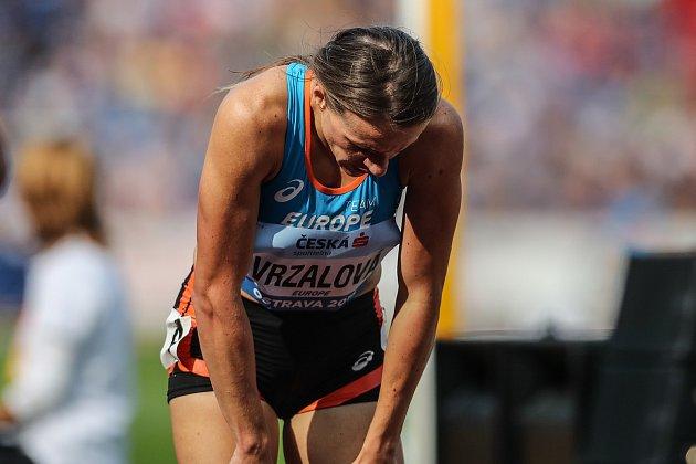 Simona Vrzalová při závodě na 1500m při Kontinentálním poháru 8.září vOstravě.