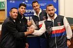 Davis cup - losování Zleva Jonathan Erlich, Yshai Oliel, Lukáš Rosol, Roman Jebavý