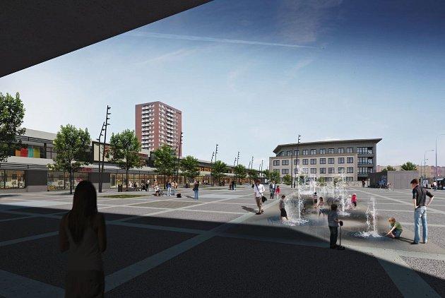 Vizualizace nové podoby náměstí vOstravě-Hrabůvce.
