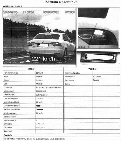 Záznam opřestupku bude součástí spisu, který obdrží příslušný odbor dopravy.