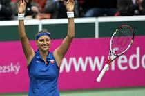 Fed Cup v Ostravě, Česko - Itálie, Petra Kvitová - Francesca Schiavone.