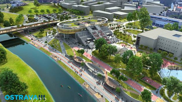Vizualizace. Takto by měla vypadat Černá louka a její okolí v Ostravě nejpozději do roku 2022.