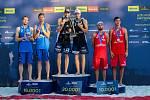 Slavnostní ceremoniál. FIVB Světové série v plážovém volejbalu J&T Banka Ostrava Beach Open, 2. června 2019 v Ostravě. Na snímku (zleva) Ondrej Perusic (CZE), David Schweiner (CZE), Anders Berntsen Mol (NOR), Christian Sandlie Sørum (NOR), Grzegorz Fijale