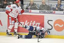 Utkání 43. kola hokejové extraligy: HC Vítkovice Ridera vs. HC Oceláři Třinec, 26. ledna 2018 v Ostravě. (vlevo) Cienciala David a Olesz Rostislav.