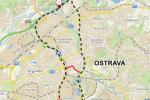 Oficiální objízdná trasa v délce 21,5 kilometru vede až přes dálnici. Červeně je na něm znázorněna neoficiální zkratka centrem města.
