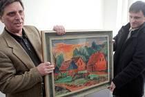 Výstavu Sváry zření obohatí na poslední dny dva vzácné obrazy, které dorazily do Ostravy ve čtvrtek. Na snímku akvarel Hermanna Maxe Pechsteina Červené domy .