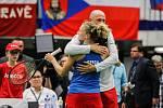 Utkání kvalifikace Fedcupového poháru Česká republika - Rumunsko, dvouhra, 10. února 2019 v Ostravě. Kateřina Siniaková proti Mihaela Buzarnescuová.