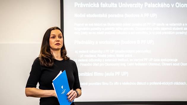 Tisková konference k události Noc Práva, 22. ledna 2020 v Ostravě. Zdeňka Papoušková.