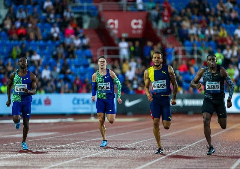 Atletický mítink IAAF World Challenge Zlatá tretra v Ostravě 20. června 2019. Na snímku Pavel Maslák z (CZE), Andre De Grasse z (CAN) a Christian Coleman z (USA).