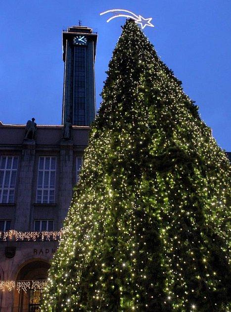 Vánoční strom před Novou radnicí v Ostravě
