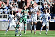 Zápas 24. kola první fotbalové ligy: FC Baník Ostrava vs. Bohemians Praha 1905, 14. dubna 2018 v Ostravě. (střed) Mašek Dominik a Martin Šindelář.