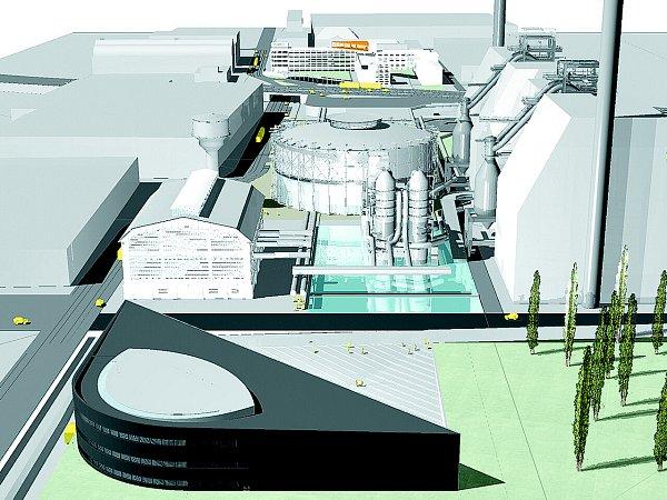 Trojúhelníková novostavba Světa techniky (vpopředí) naváže na původní a už opravené objekty vareálu této industriální památky.