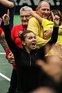Utkání kvalifikace Fedcupového poháru Česká republika - Rumunsko, dvouhra, 10. února 2019 v Ostravě. Na smínku Simona Halepová.