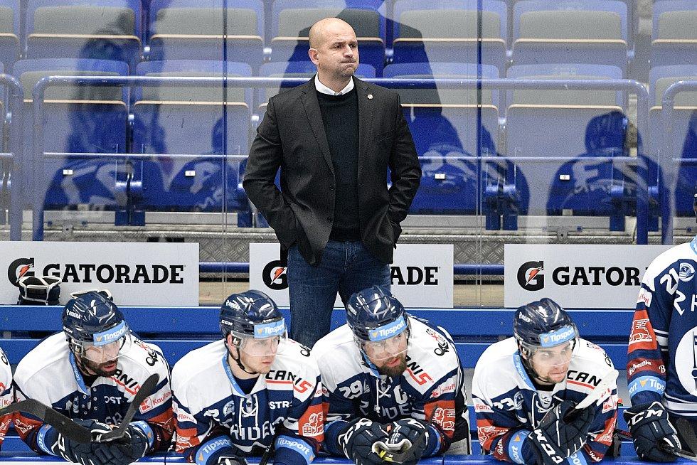 Utkání 40. kola hokejové extraligy: HC Vítkovice Ridera - HC Verva Litvínov, 29. ledna 2021 v Ostravě. (zleva) trenér Vítkovic Miloš Holaň.
