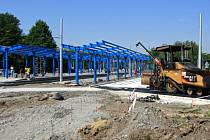 Stavba přestupního terminálu v Ostravě-Hranečníku.