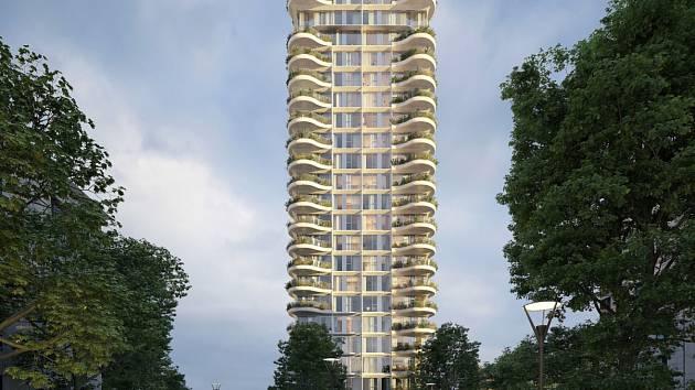 Vizualizace ostravského mrakodrapu.