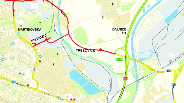 Takto by se měl Severní spoj realizovat. V první etapě se počítá s napojením dálničního přiváděče D1 na ulici Provozní, ve druhé s propojením do Průběžné ulice.