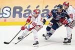 Čtvrtfinále play off hokejové extraligy - 1. zápas: HC Oceláři Třinec - HC Vítkovice Ridera, 20. března 2019 v Třinci. Na snímku (zleva) Vladimír Dravecký, Daniel Krenželok a David Musil.