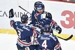 Čtvrtfinále play off hokejové extraligy - 1. zápas: HC Oceláři Třinec - HC Vítkovice Ridera, 20. března 2019 v Třinci. Na snímku (střed) Radoslav Tybor