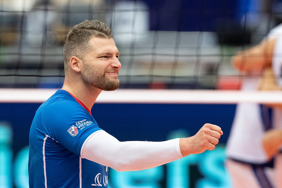 Utkání skupiny B mistrovství Evropy volejbalistů: ČR - Itálie, 9. září 2021 v Ostravě. Milan Moník z ČR.