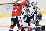 45. kolo hokejové extraligy mezi HC Vítkovice Ridera - HC Dynamo Pardubice v Ostravě dne 14. února 2020. Zleva (radost) Patrik Poulíček z Pardubic.