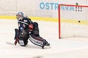Utkání 30. kola hokejové extraligy: HC Vítkovice Ridera - HC Škoda Plzeň, 28. prosince 2018 v Ostravě. Na snímku (zleva) brankář Plzně Dominik Frodl.