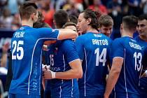 Utkání mistrovství Evropy volejbalistů - čtvrtfinále: ČR - Slovinsko, 15. září 2021 v Ostravě. Klemen Cebulj ze Slovinska.