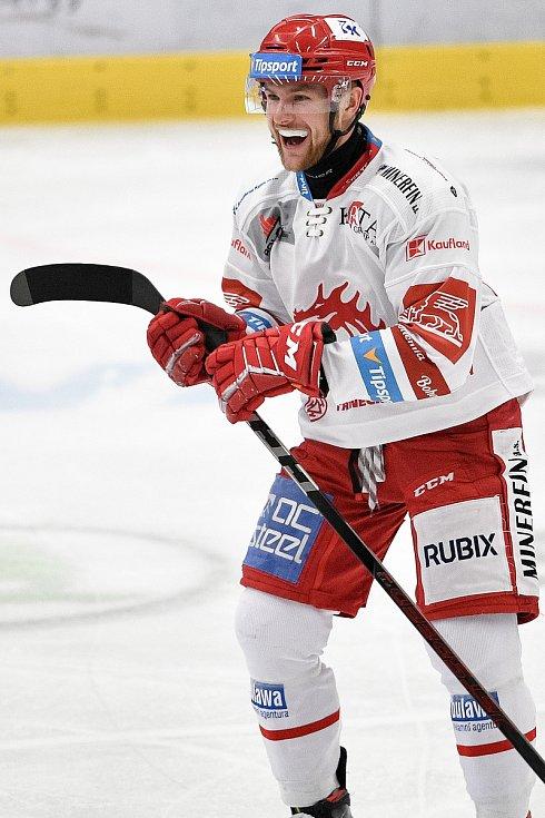 Utkání 16. kola hokejové extraligy: HC Vítkovice Ridera - HC Oceláři Třinec, 15. února 2021 v Ostravě. Marian Adámek z Třince se raduje z gólu.