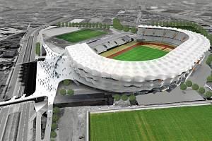 Vizualizace plánovaného městského stadionu v Ostravě