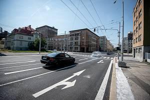 Frekventovaná křižovatka v centru Ostravy je opět průjezdná. Snímek z 1. září 2019.
