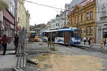 Rekonstrukce Nádražní ulice v centru Ostravy.