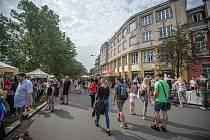 Víkendová pěší zóna Malá Kodaň, kde se uskutečnily farmářské Trhy, co se hledají, 15. srpna 2020 v Ostravě.