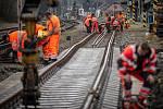 Oprava železničního přejezdu na ulici Buničitá, 23. dubna 2021 ve Vratimově