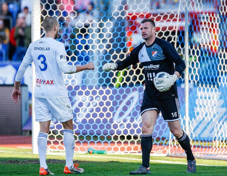 FC Baník Ostrava – SK Slavia Praha, vlevo Martin Šindelář, vpravo Jan Laštůvka