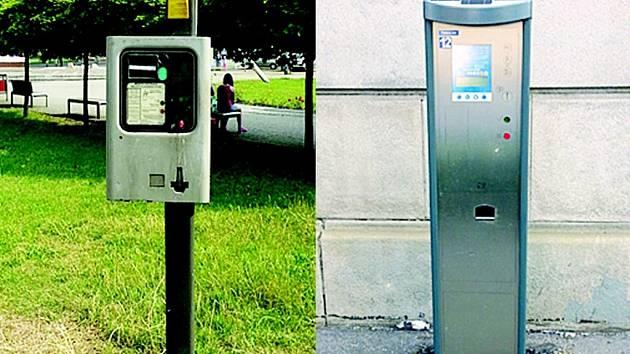 Starý a nový parkovací automat.