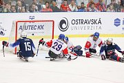 Mistrovství světa v para hokeji 2019, 3. května 2019 v Ostravě. Na snímku (zleva) Zych Kyle (USA), Kubes Pavel (CZE), Kudela Martin (CZE), Kvoch Tomas (CZE), Grove Noah (USA).