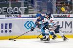 Utkání 17. kola hokejové extraligy: HC Vítkovice Ridera - Rytíři Kladno, 3. listopadu 2019 v Ostravě. Na snímku zleva Tomáš Kaut, Alexandre Mallet.