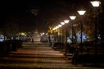 Centrum Ostravy v čase zákazu vycházení, den první - 28. října 2020 po 21. hodině.