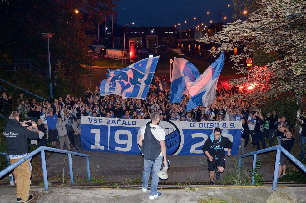 Setkání fanoušků Baníku na Kamenci v Ostravě, aby oslavili 95. výročí svého klubu.