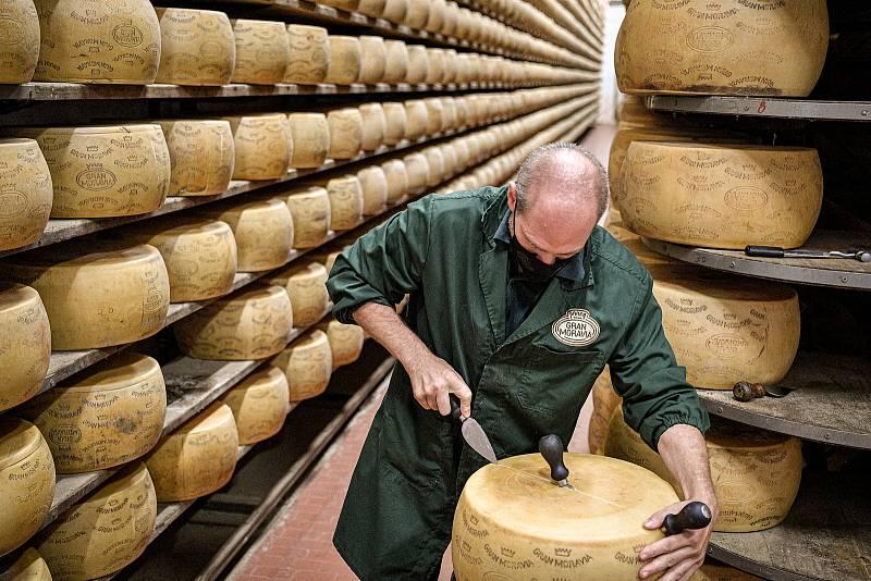 Tradiční sklad sýrů společnosti Gran Moravia, 11. srpna 2021 v Bevadoro, Itálie. Zaměstnanec Antonio Casalin rozřezává jeden z bochníků sýra.